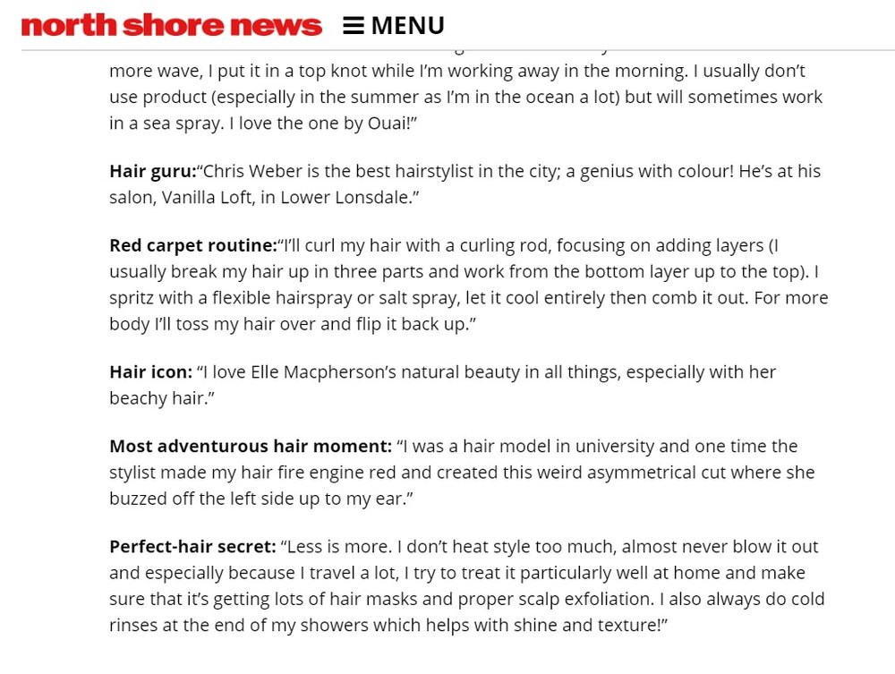 "north Shore News - ""North Shore Personalities spill their hair secrets"""