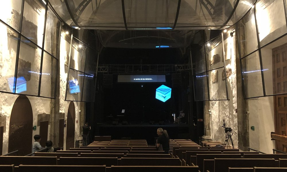 During soundcheck, water and text syncing tests