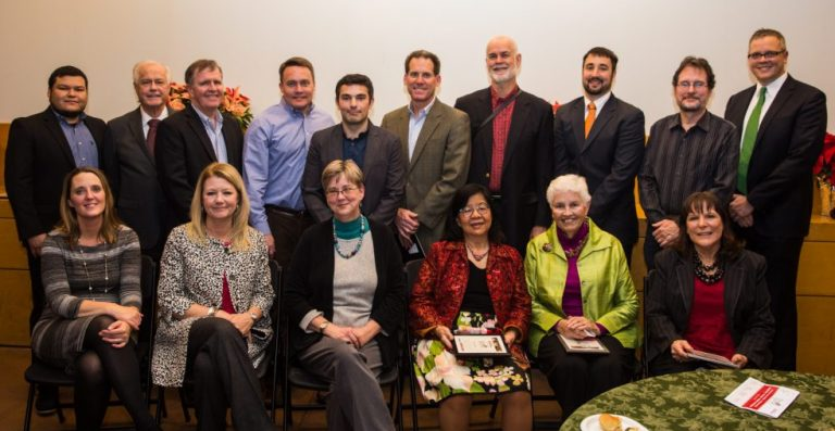 Left to right, back: Saul Reyes, David Leibson, Richard Donohoe, Matthew de Ferranti, Ori Weisz, Robert Bushkoff, Stephen Sockwell, Michael Spotts, Russell Schroeder (County staff resource), John S. Grant. Front: Lisa Sturtevant (consultant to the Group), Doris Topel–Gantos, Mary Hynes, Marsha Allgeier, Kathryn Scruggs, Joan Lawrence. (Honorees not pictured: Dr. Leonard Hamlin, Sr., Umair Ahsan, Shelynda Burney Brown, Linda Kelleher, David Peterson, Candice Rose)