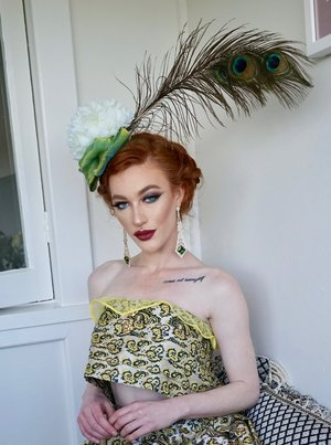 a4da0b0e08259 DAPHNE Handmade Velvet Chiffon and Peacock Feather Floral Statement Hat  Fascinator ...