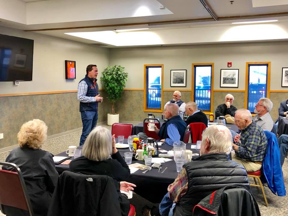 Brian speaking at Larimer County Republicans' Breakfast Club