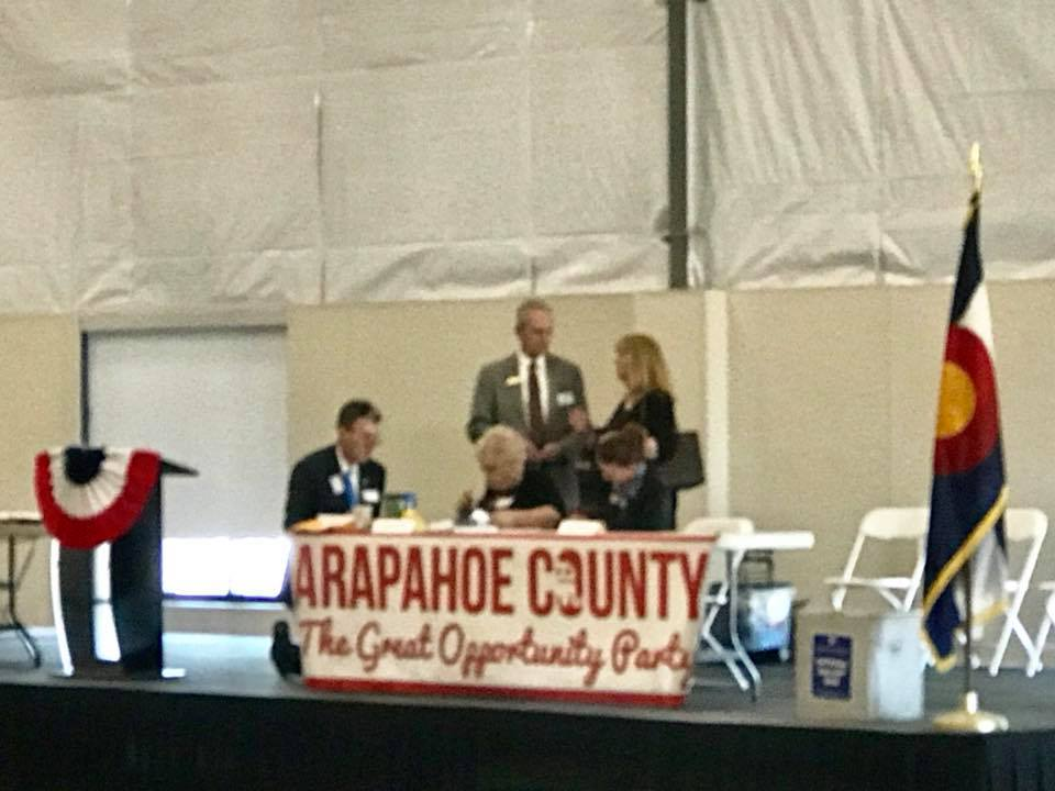 Speaking at the Arapahoe County Republican Assembly