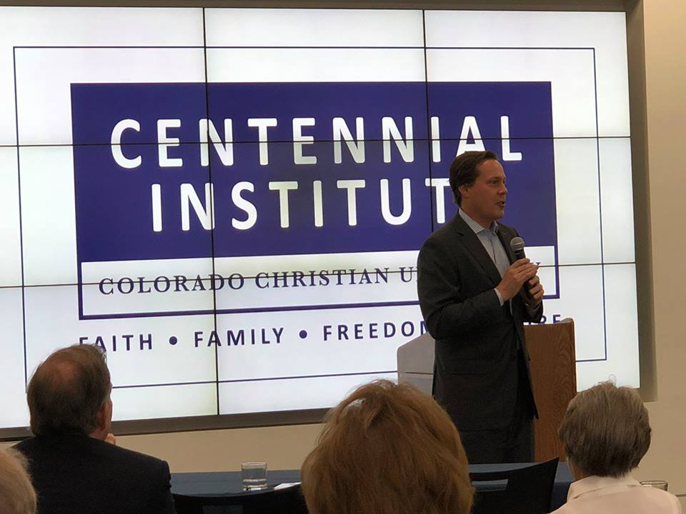Speaking at the Business Coalition breakfast for  Centennial Institute