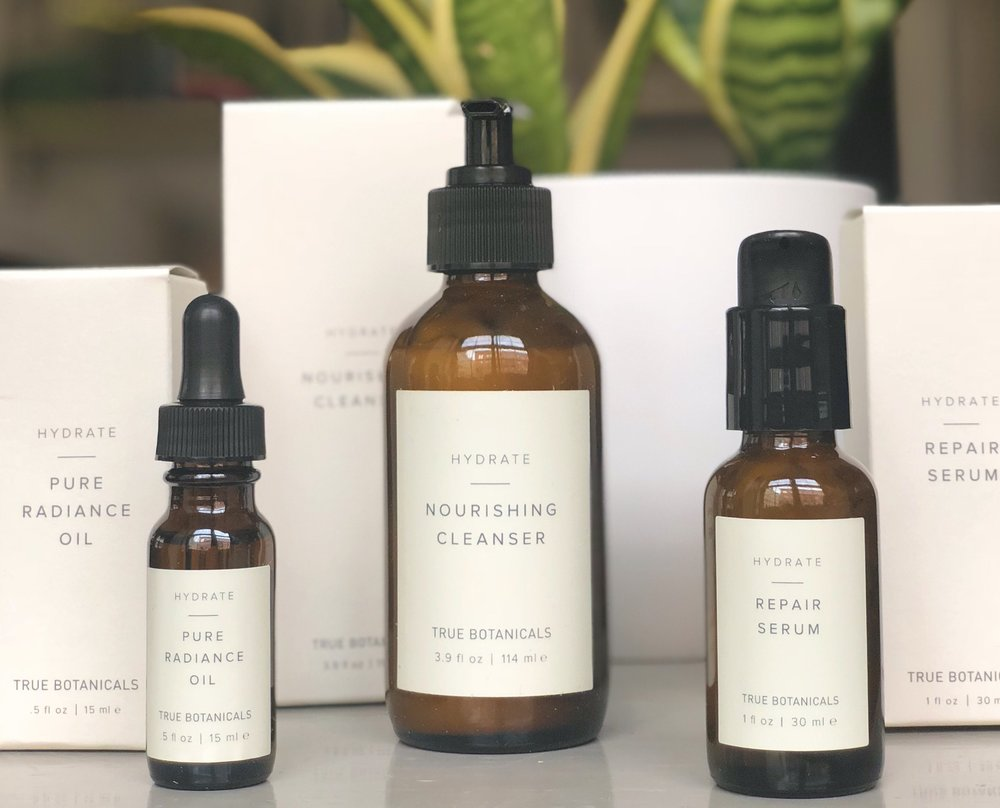 I'm obsessed with the True Botanicals Hydrate line, especially their face oil and repair serum.