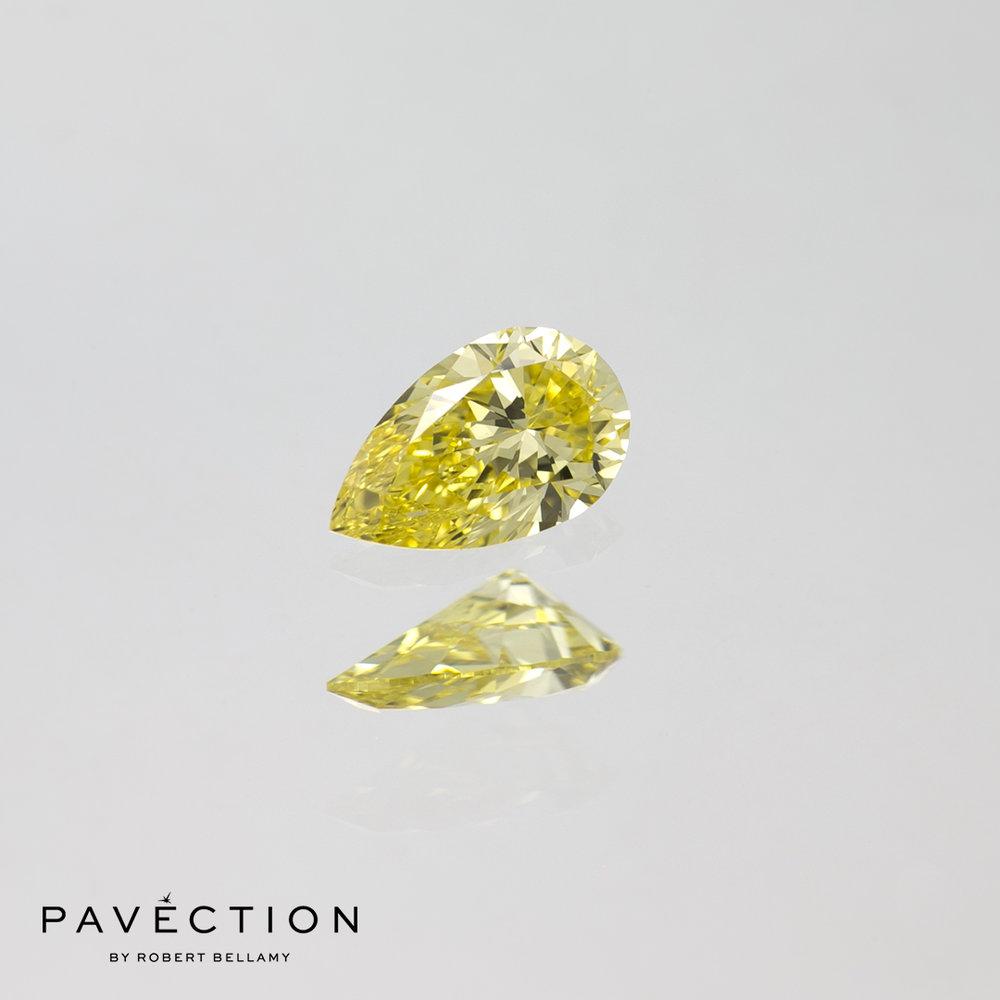 0.24ct Natural Fancy Intense Yellow IF Pear Cut Diamond