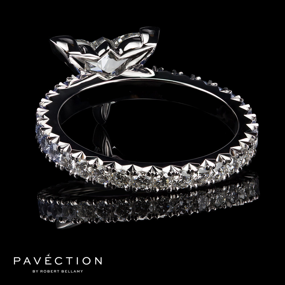 Pavection Diamond and Sapphire Engagement Ring Brisbane