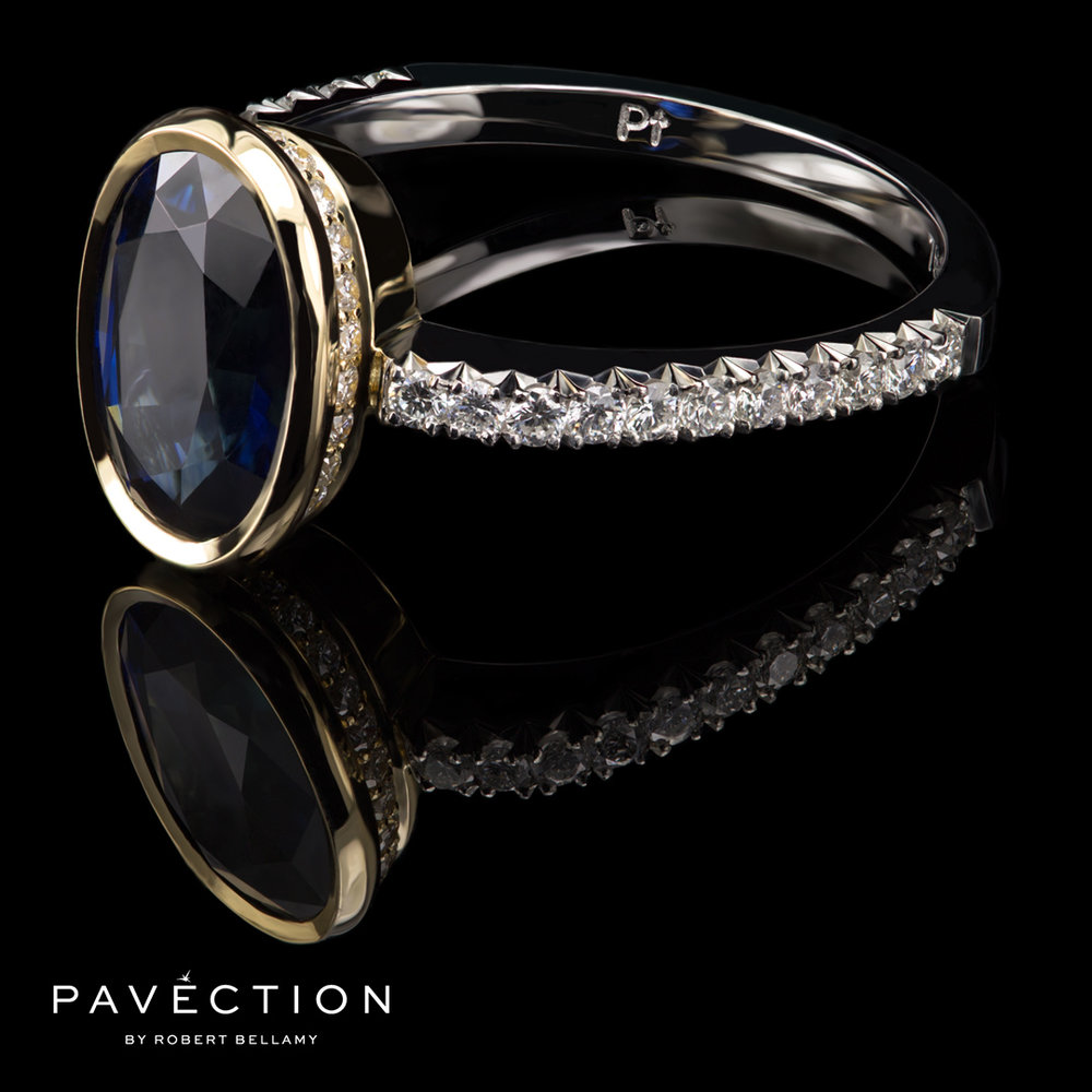 Pavection Sapphire and Diamond Ring in Platinum and 18ct Yellow Gold Brisbane