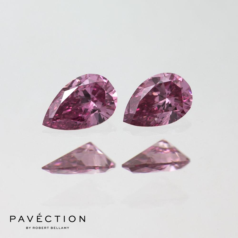 2 x 0 carat 14 point 2P Si1 Pear cut argyle pink diamonds total 28 point Pavection robert bellamy brisbane city designer jewellery jewelry jewellers jewelers custom made.jpg