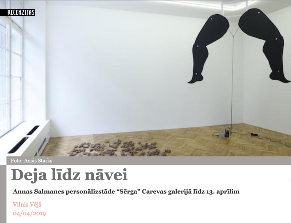 ''Dance till the death'' art critic Vilnis Vējš… - …reflects on ''The Plague'' by Anna Salmane.First solo show in the new space - bears the first critics as well! Thanks! Read the full article:http://www.arterritory.com/lv/teksti/recenzijas/8112-deja_lidz_navei/