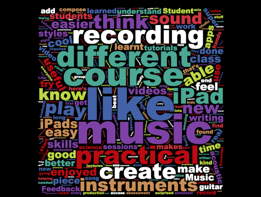 Wordcloud of student curriculum feedback.