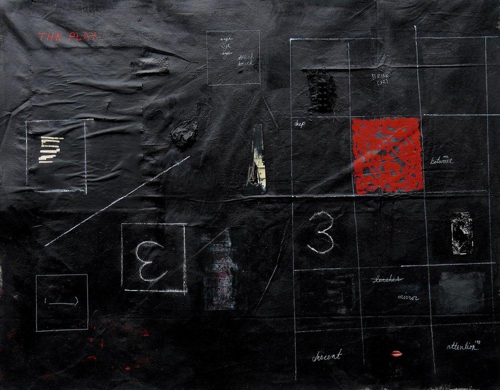 "play,  4'5"" x 3'7"", mixed media on canvas"