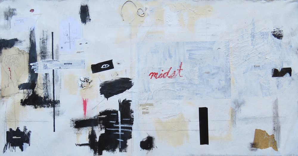 "midst , 5'6"" x 2'10"", mixed media on canvas - 2014-2019"