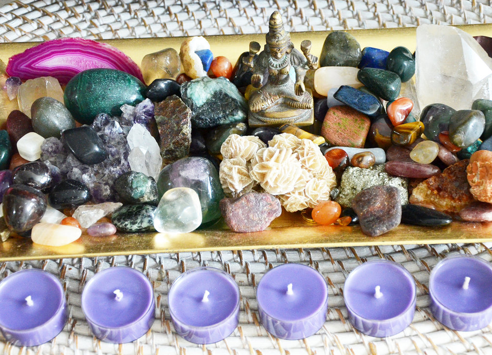 Gemstone Infusions - Assortment of Intention Based Chakra Candles, Luxury Bath Bombs, Incense and Energy Clearing Botanical Bundles