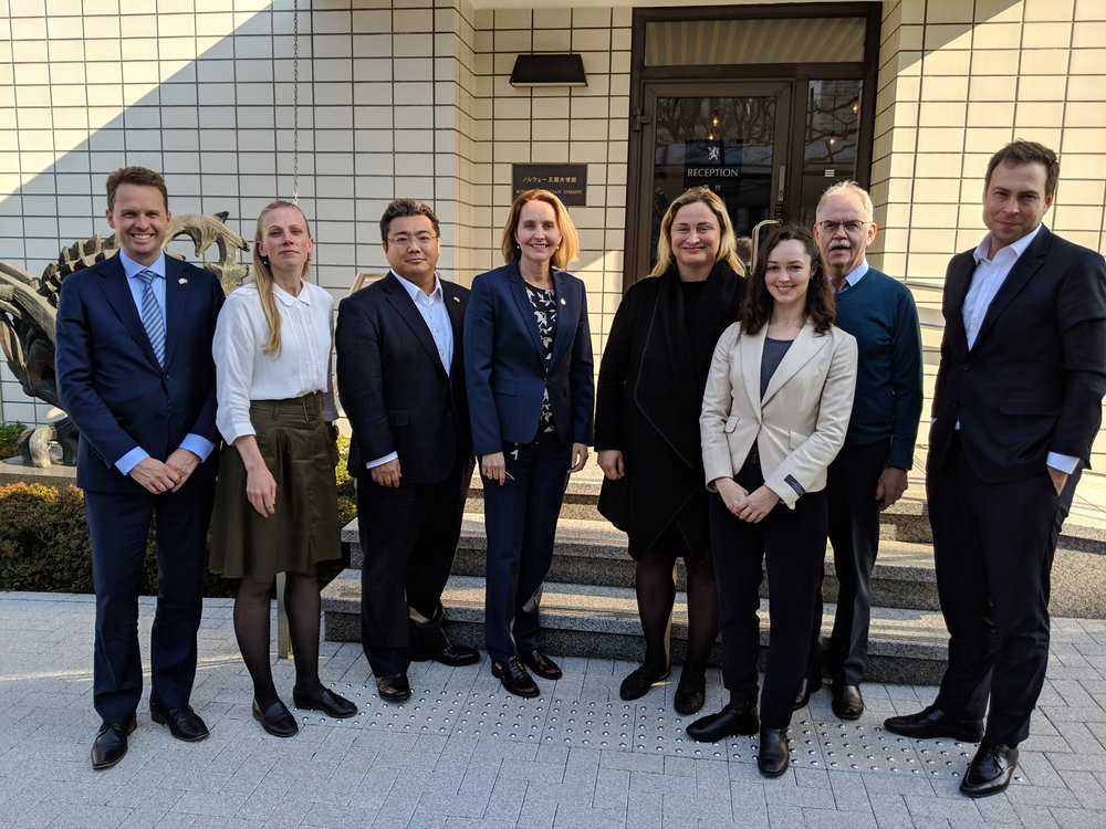 Team Norway and the NABS team. From the left: Mr. Tom Knappskog (MFA), Ms. Tone Helene Aarvik (MFA), Mr. Keita Koido (NCCJ), Her Excellency Ambassador Signe Brudeset (MFA), Ms. Dilek Ayhan (NABS), Ms. Anette Yamamoto-Hansen (NCCJ), Mr. Rolf Almklov (IN), Mr. Dan Bjørke (NABS)