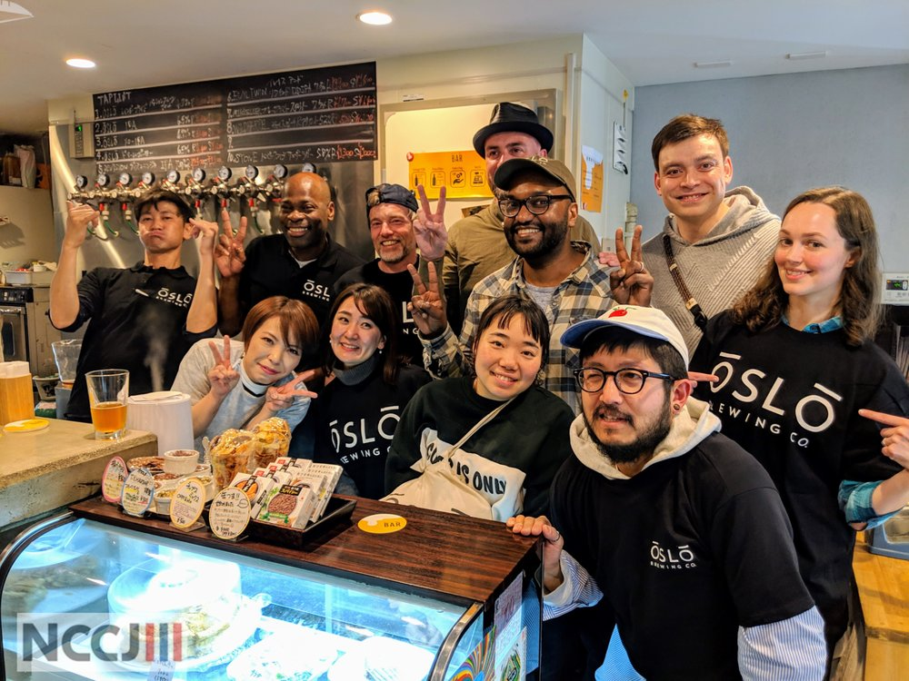 The Oslo Brewing Co. team at the center of attention at a tap-takeover event in Kita-Senju