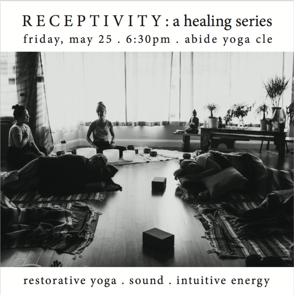 receptivity: a healing series - After a hiatus, we are so grateful to host the third in our offerings of Receptivity.Filled with connection and intuitive guidance, this special class holds space for you to cultivate a relationship with yourself. To map your emotional landscape. To reaffirm the importance of time to process, integrate, and release. Stillness is a practice. It is not always easy, not always forgiving. But it asks of us to be quiet. To be patient. What if waiting felt like a gift instead of a challenge to speed up?Offering deep yet subtle work the session incorporates Restorative Yoga, Sound Healing (with crystal & tibetan singing bowls, chimes, and shruti box), relaxation, intuitive energy work (reiki, reflexology and marma), a collaboration between Stacey Pickering and Gwendolyn Hashimoto.Class size is limited to 10 and the investment (in yourself and our work) is $40 per person.This event is Sold Out.