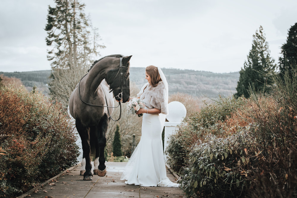Achingairn House, Horse Photoshoot, Bride and Horse
