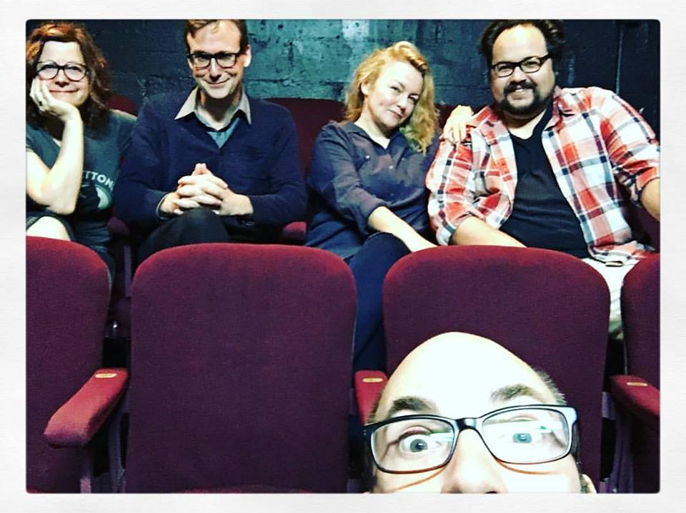 Remembering these fantastic people while listening to POD SAVE AMERICA...me, Abe Goldfarb, Kristen Vaughan and Brian Silliman with Clay McLeod Chapman sneaking in at the bottom of the shot...THE PUMPKIN PIE SHOW...