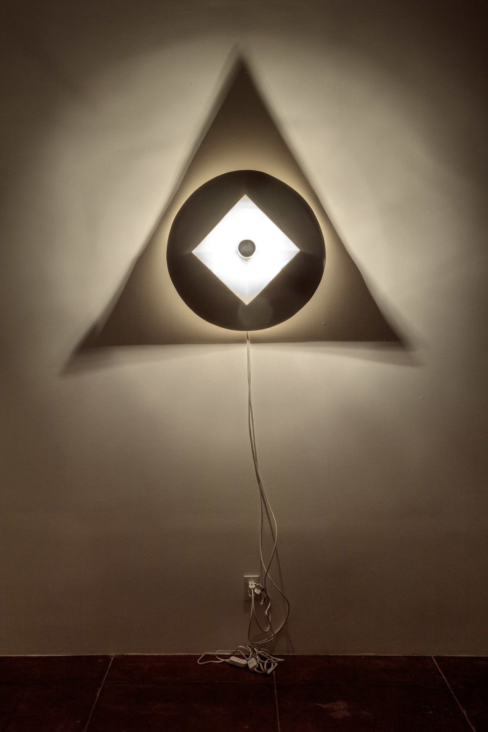 "Square Circle Triangle:  Object Size: 27"" round / Shadow Size: 54""x 47"""