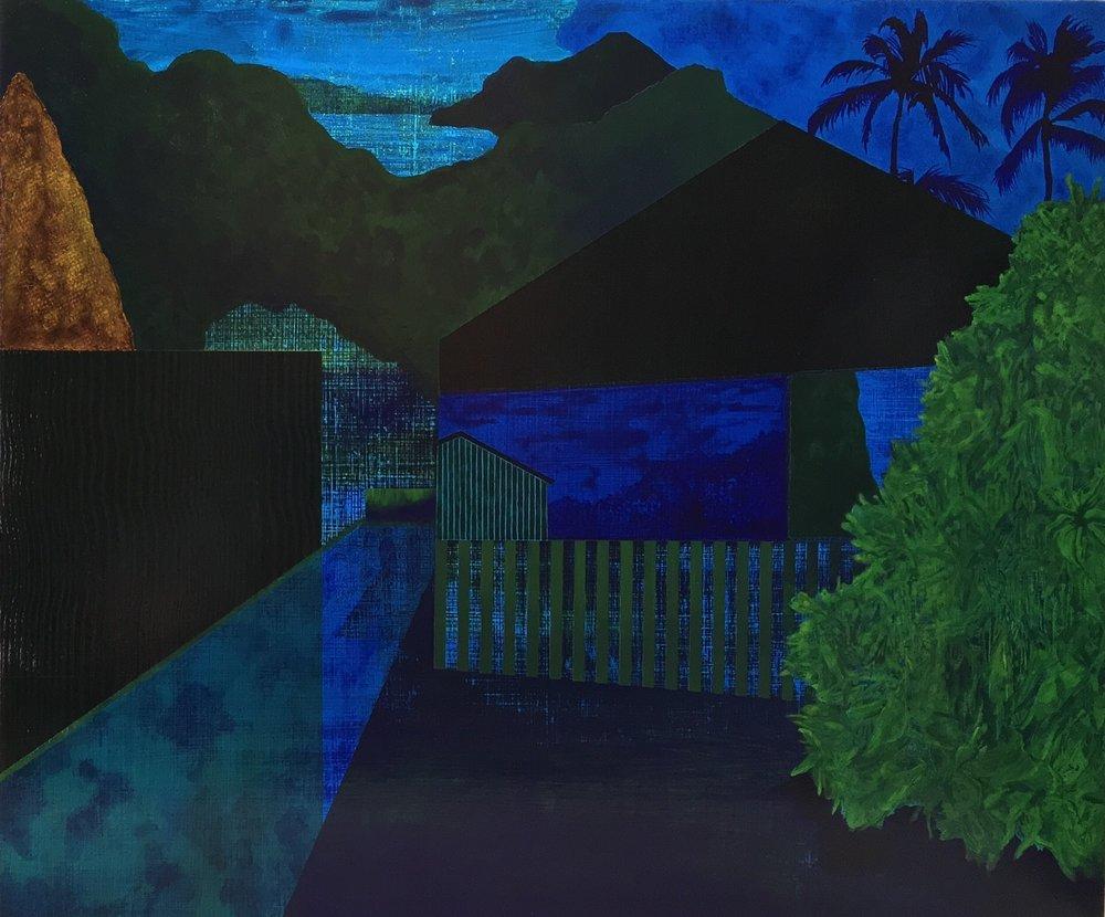"Halcyon Night  2017  acrylic on panel  20""H x 24""W"