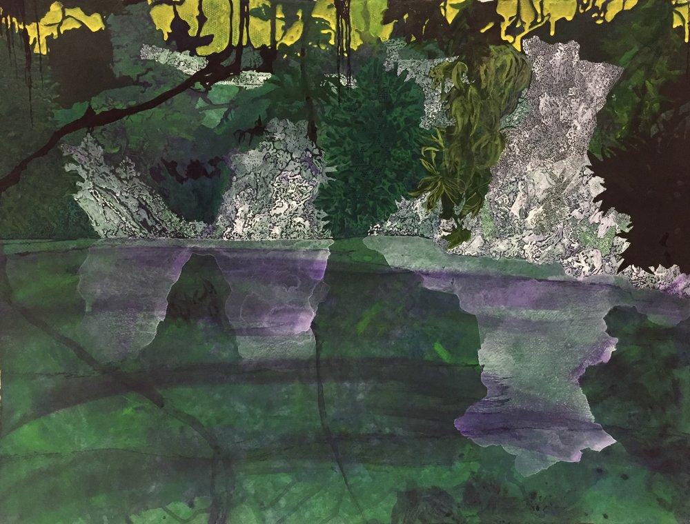 "Verdant Ruin  2017  acrylic on paper  22""H x 30""W"