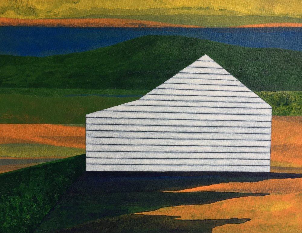 "Bluff  2017  acrylic on paper  9""H x 11.875""W"