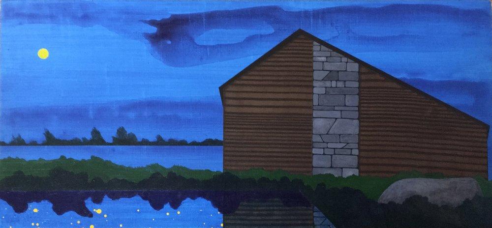 "Edger  2009  acrylic on panel  7.5""H x 16""W"