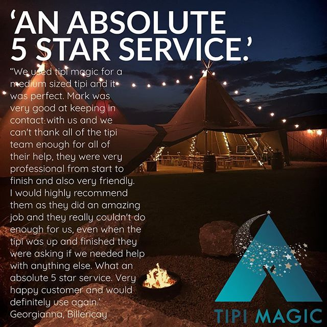 'AN ABSOLUTE 5 STAR SERVICE'  We used tipi magic for a medium sized tipi and it was perfect. Mark was very good at keeping in contact with us and we can't thank all of the tipi team enough for all of their help, they were very professional from start to finish and also very friendly. I would highly recommend them as they did an amazing job and they really couldn't do enough for us, even when the tipi was up and finished they were asking if we needed help with anything else. What an absolute 5 star service.  Very happy customer and would definitely use again.  Georgianna, Billericay  #tipi #tipihire #professional #friendly #highlyrecommended #amazing #veryhappycustomer