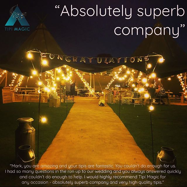 "'AN ABSOLUTELY SUPERB COMPANY'  Congratulations to Hayley and Matt who got married on 23rd August in Staffordshire. We wish them all the very best for the future and thank them for their kind words about the two Giant Tipis we set up for their special day: ""Mark, you are amazing and your tipis are fantastic. You couldn't do enough for us. I had so many questions in the run up to our wedding and you always answered quickly and couldn't do enough to help. I would highly recommend Tipi Magic for any occasion - absolutely superb company and very high quality tipis."" #weddingsandevents #tipi #makingmagicalmemories #tipihire #staffordshire #magic"