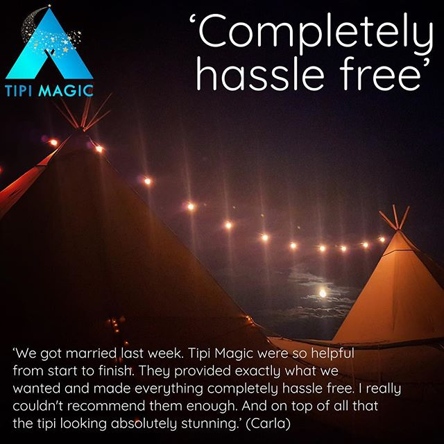 'We got married last week. Tipi Magic were so helpful from start to finish. They provided exactly what we wanted and made everything completely hassle free. I really couldn't recommend them enough. And on top of all that the tipi looking absolutely stunning.' #nohassle #weddingsandevents #tipi #makingmagicalmemories #tipimagic