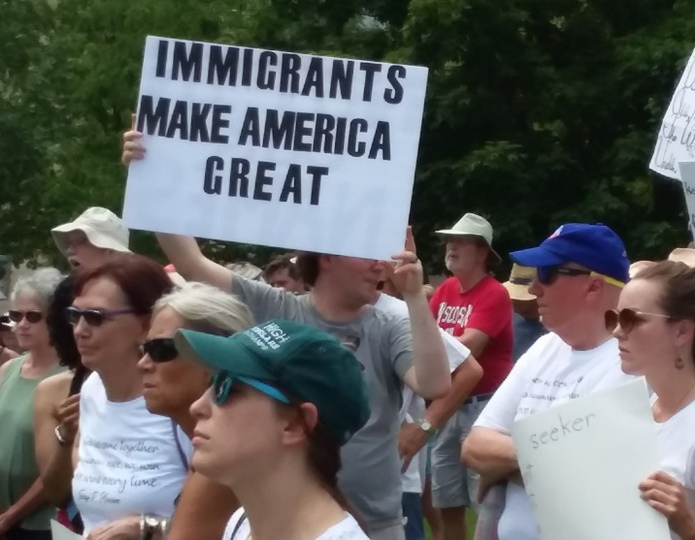 The June 30 protest was sponsored locally by OWR and Indivisible and sponsored locally by Indivisible and OWR, and nationally by MoveOn.org, the ACLU, National Domestic Worker's Alliance, Moms Rising, We Belong Together, United We Dream and the Women's Refugee Commission.