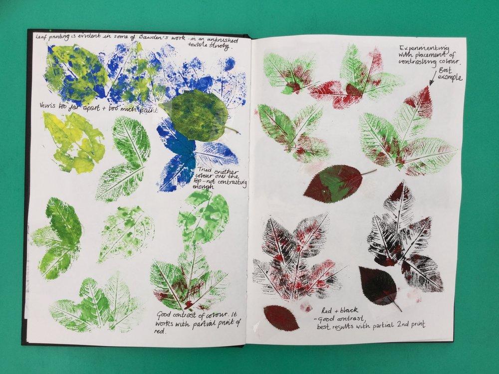 Leaf printing.  Briony Dixon sketchbook