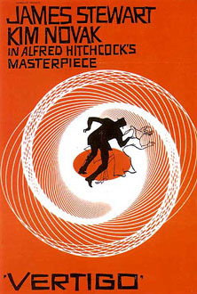 Poster created by saul bass for hitchcock's 1958 film vertigo -