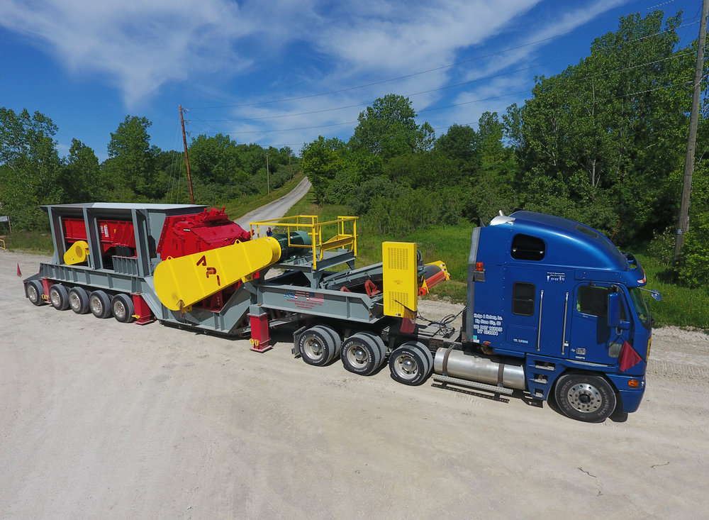 New Hazemag portable impact crushing plant arriving at Charleston on June 1st, 2017. It was built by Agregate Processing of Louisville, KY.