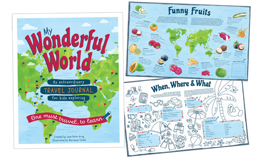 My Wonderful world - My Wonderful World Travel Journal purpose is to bring children´s travel experiences to the next level. It creates priceless memories and knowledge of the world and ensures plenty of offline mindful creativity and endless enriching family conversations. My Wonderful World targets school-age kids and teens (5-6+) from anywhere in the world - traveling anywhere in the world, and is designed to follow kids on every single trip throughout childhood! The book is made up of two main chapters:Part 1: My Wonderful World illustrated with down bellow simple color illustrations. Part 2: My Travel Journal illustrated with doddle drawings also made by me. Written by Lene Holm Kring.Beside the 250 small color illustrations for this book I have also illustrated and designed the book covers and the spread layouts.