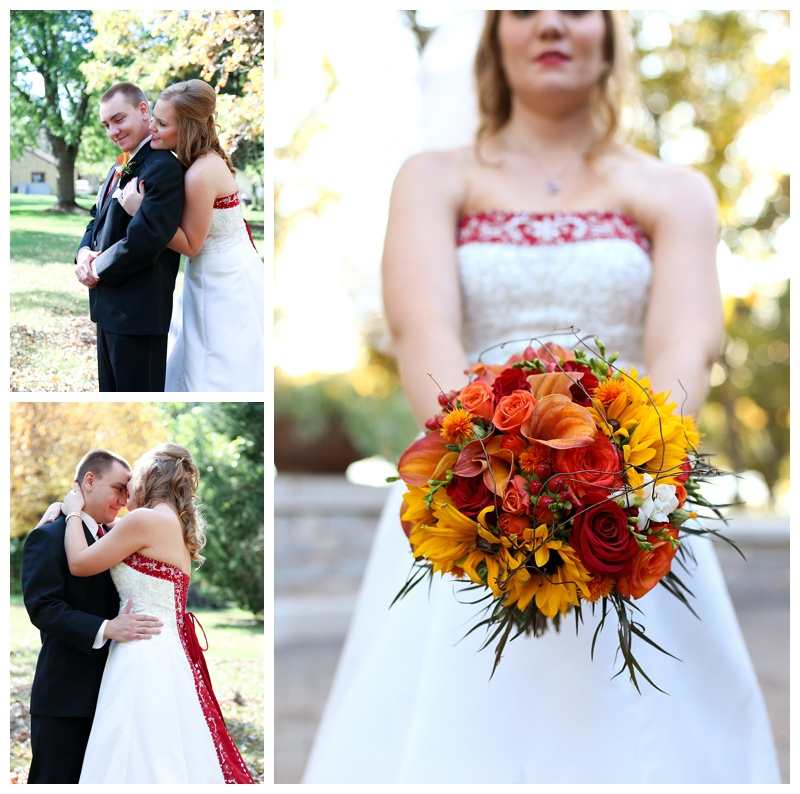 Red White Black Fall wedding