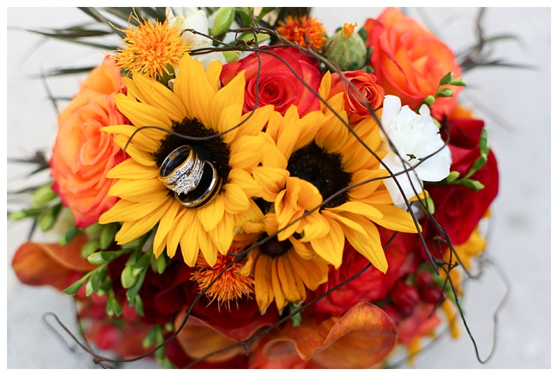 Sunflower Wedding Bouquet with Rings