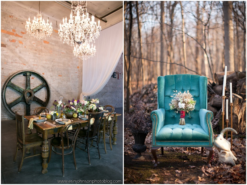 Large Chandeliers/Teal Chair On Solid Ground Vintage Rentals
