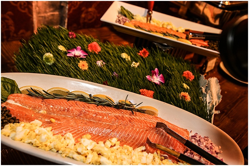 Gourmet wedding salmon buffet