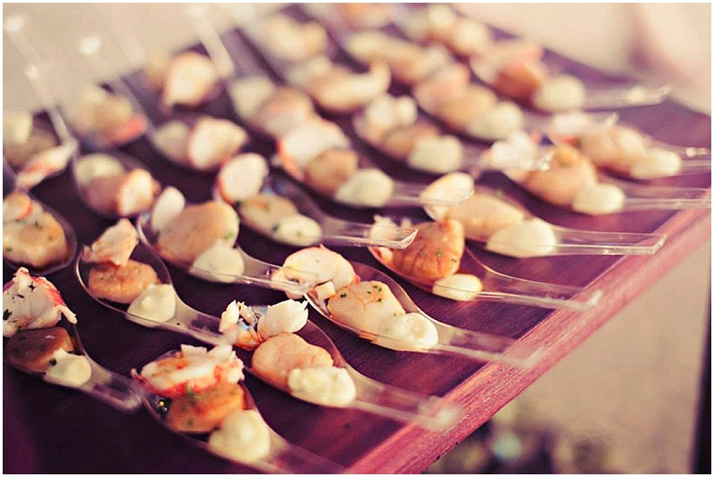 Gourmet spooned wedding appetizer