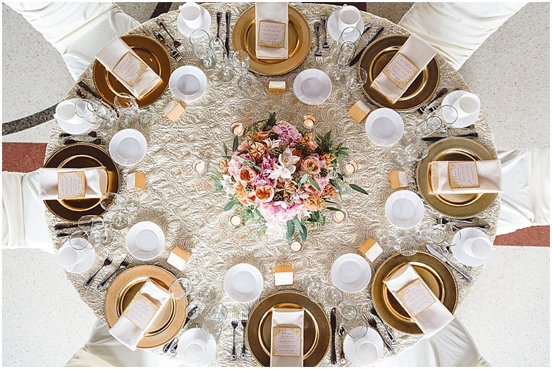 White, Gold, Blush wedding tablescape