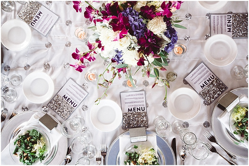White Purple & Fuchsia wedding tablescape