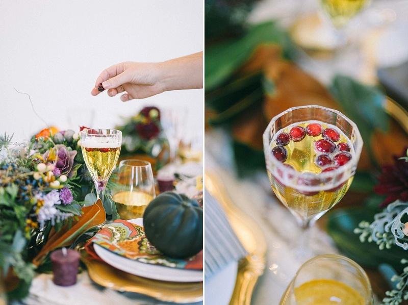 Champagne w/cranberry garnish-rosetree-thanksgiving