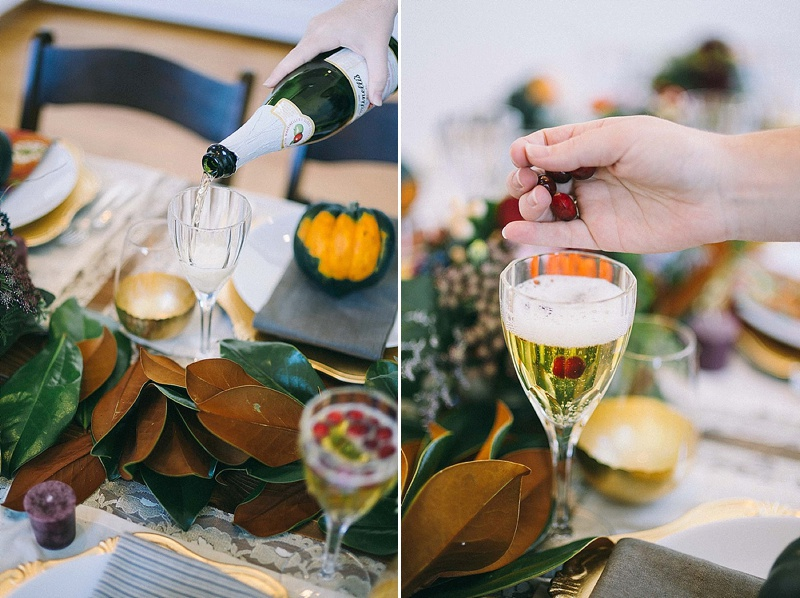 Champagne w/cranberry garnish-rosetree-thanksgiving