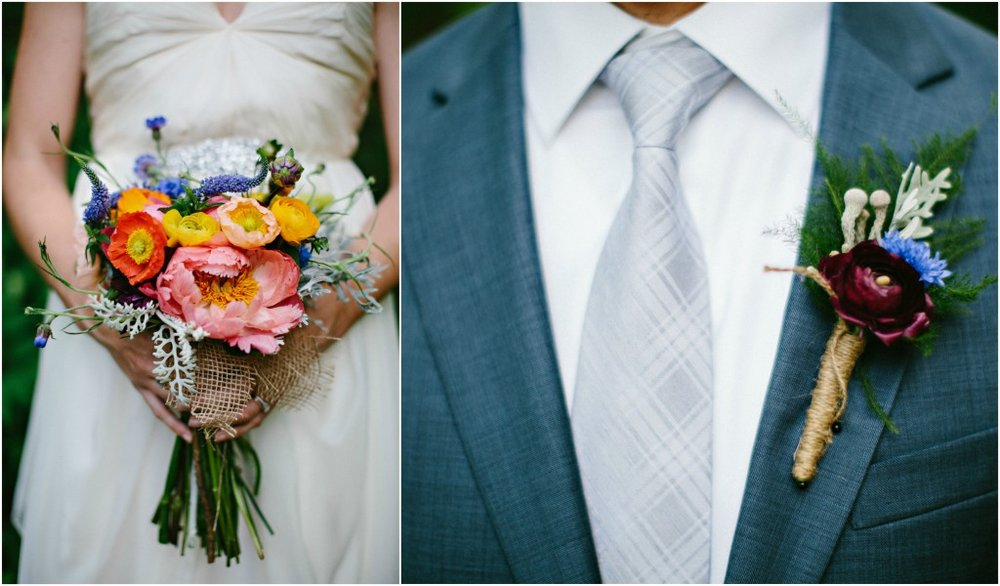 Pink peony wedding bouquet | Grooms boutonniere