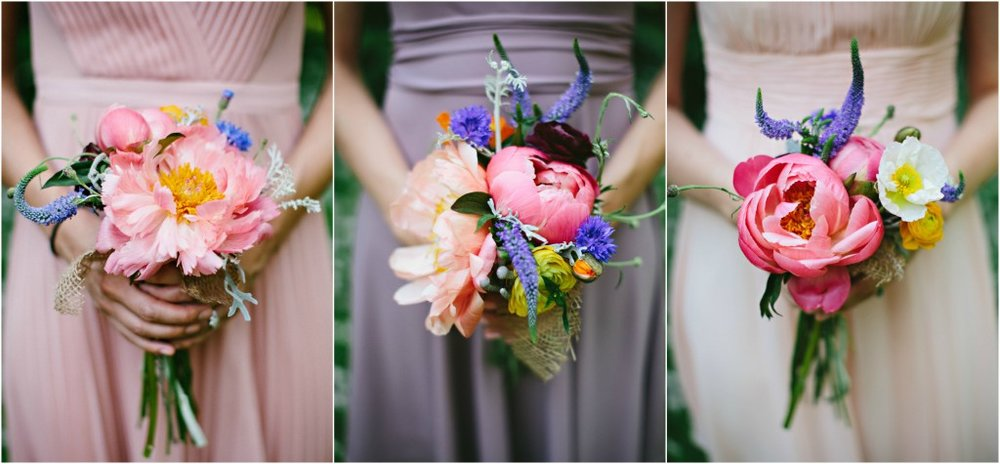 Pink peony bridal bouquets