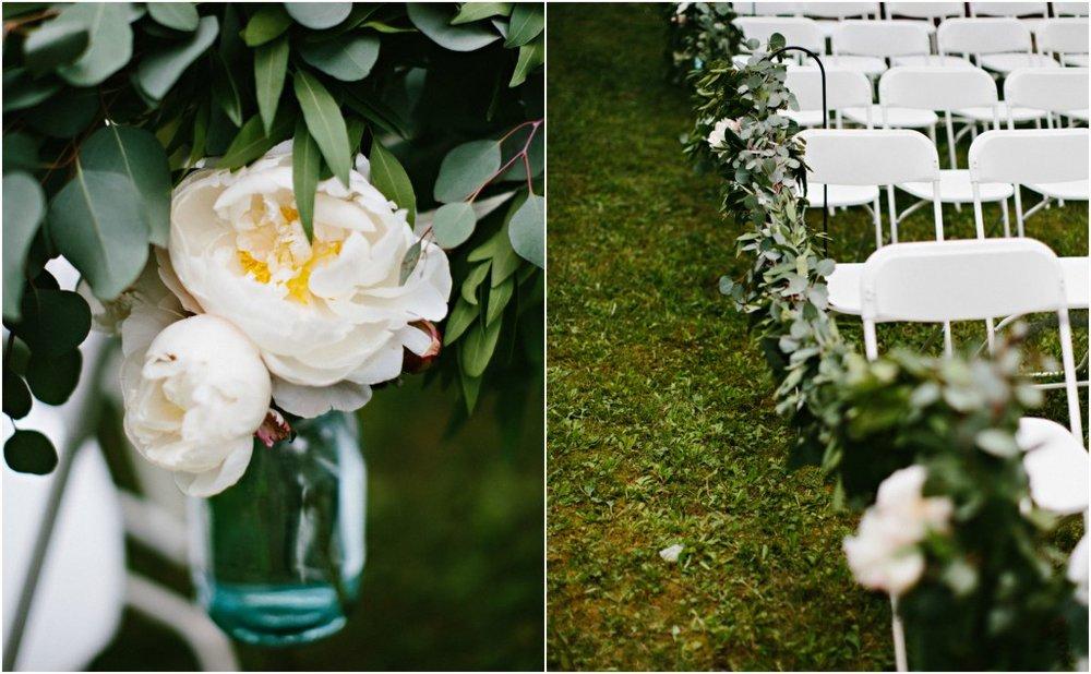 White peonies & aisle garland