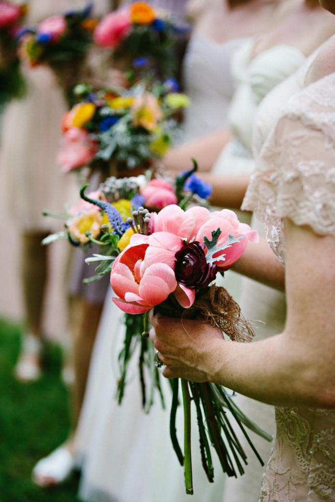 Pink peony wedding bouquets