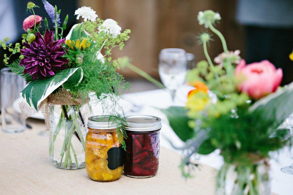Organic floral arrangements and jams