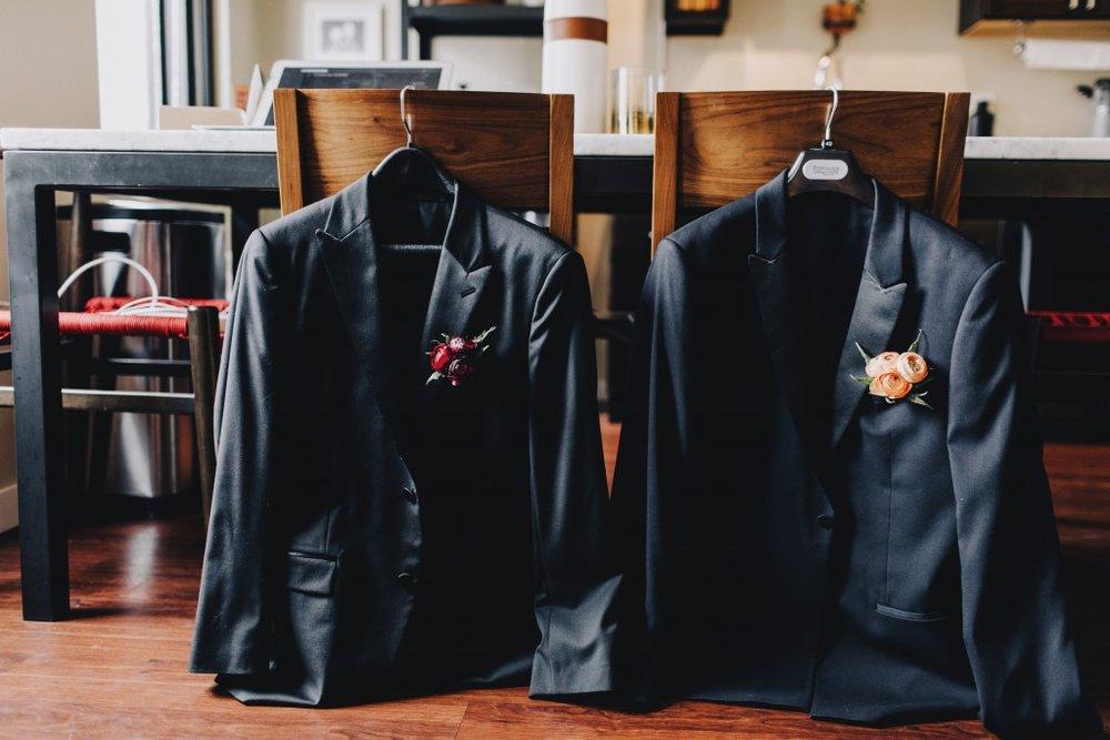 Groom's suite jackets, same-sex wedding